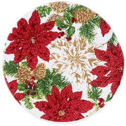 Arlee Holiday Hills Poinsettia Braided Round Placemat