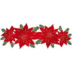 Arlee Velvet Poinsettia Table Runner