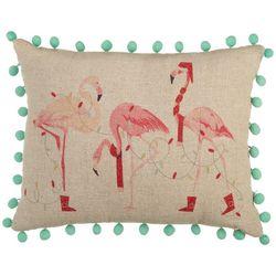 Brighten the Season Flamingo Trio Decorative Pillow