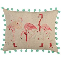 Brighten the Season Flamingo Trio Decorative Pillow