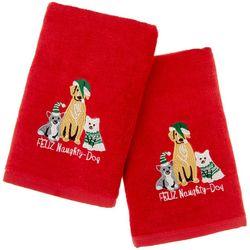 Brighten the Season 2-pc. Feliz Naughty Dog Hand Towel Set