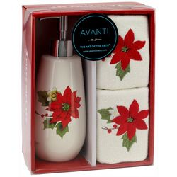 Avanti 3-pc. Poinsettia Bath Gift Set