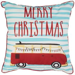 Thro Merry Christmas Van Decorative Pillow