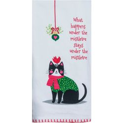 Kay Dee Designs Under Mistletoe Cat Flour Sack Towel
