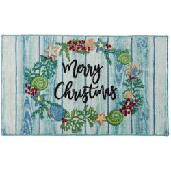 Brighten the Season Christmas Coastal Wreath Accent Rug