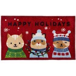 Brighten the Season Cats Happy Holidays Accent Rug