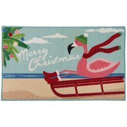 Brighten the Season Sledding Flamingo Accent Rug