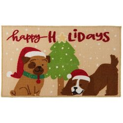 Brighten the Season Happy Holidays Dogs Accent Rug