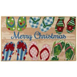 Brighten the Season Merry Christmas Flip Flops Accent Rug