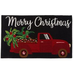 Brighten the Season Merry Christmas Red Truck Accent Rug
