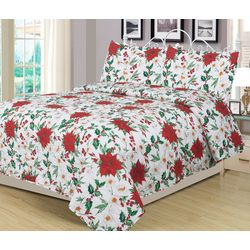 Brighten The Season Watercolor Poinsettia Quilt Set