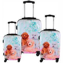 3-pc. Garden Poodle Hardside Luggage Set