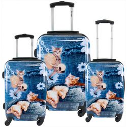 Chariot 3-pc. Denim Kitty Hardside Luggage Set
