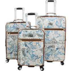 Chariot 3-pc. Map Print Spinner Luggage Set