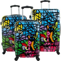 Chariot 3-pc. Glass Black Hardside Luggage Set