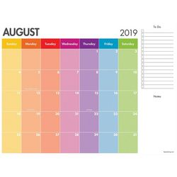 TF Publishing 2019-2020 Rainbow Stripe Desk Pad Calendar