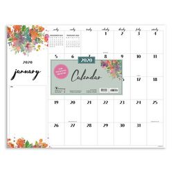 TF Publishing 2020 Floral Script Desk Pad Calendar