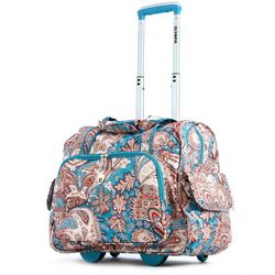 Olympia Luggage Fashion Blue Paisley Rolling Overnighter