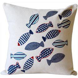 Coastal Home School Of Fish Decorative Pillow