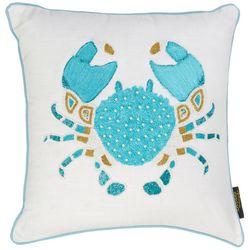 Coastal Home Embellished Blue Crab Decorative Pillow