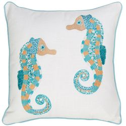 Coastal Home Embellished Double Seahorse Decorative Pillow