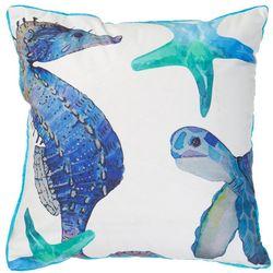 Coastal Home Seahorse & Turtle Decorative Pillow