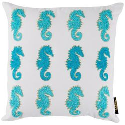 Coastal Home Seahorse Embroidered Decorative Pillow