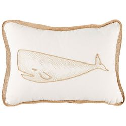 Coastal Home Embroidered Whale Decorative Pillow