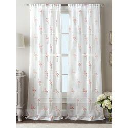 CHF Destinations 2-pc. Flamingo Sheer Curtain Panel Set