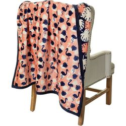 Coastal Home Flamingo Reversible Velvet Plush Throw