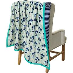 Coastal Home Palm Tree Reversible Velvet Plush Throw