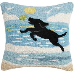 Peking Handicraft Dog Catch Hooked Decorative Pillow