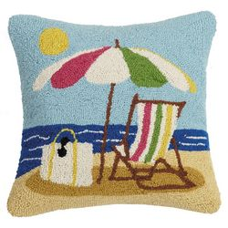 Peking Handicraft Beach Scene Hooked Decorative Pillow