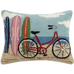 Peking Handicraft Bike & Surfboards Hooked Decorative Pillow