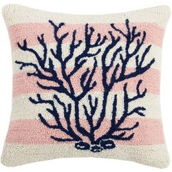 Peking Handicraft Striped Coral Hooked Decorative Pillow