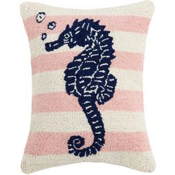 Peking Handicraft Striped Seahorse Hooked Decorative Pillow