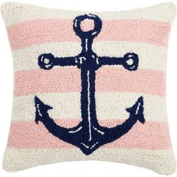 Peking Handicraft Striped Anchor Hooked Decorative Pillow