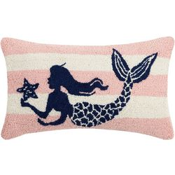Peking Handicraft Striped Mermaid Hooked Decorative Pillow