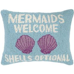 Peking Handicraft Mermaids Welcome Hooked Decorative Pillow