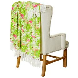 Dream Home Flamingals Plush Fringe Throw