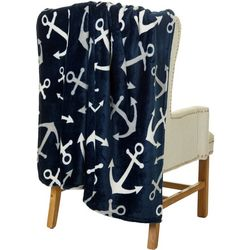 Coastal Home Anchor Print Plush Throw Blanket
