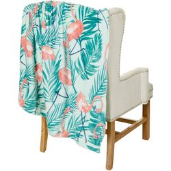 Coastal Home Flamingo Prep Plush Throw Blanket
