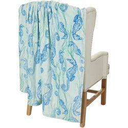 Coastal Home Seahorses Print Plush Throw Blanket
