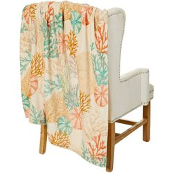 Coastal Home Coral Branches Plush Throw Blanket