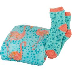 Coastal Home Flamingos Throw & Sock Set