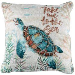 Deborah Connolly Turtle Lagoon Embellished Decorative Pillow