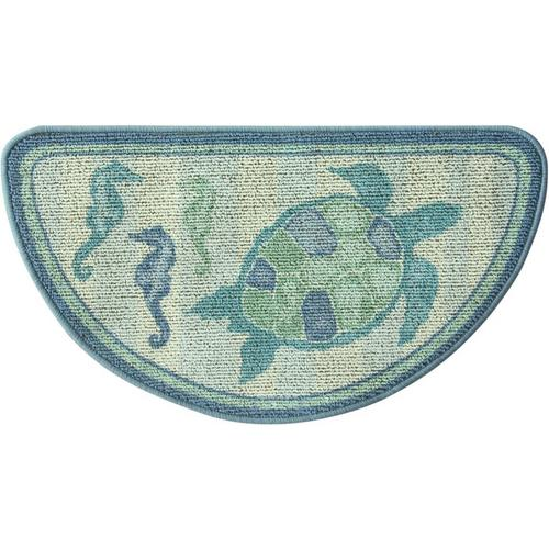 Sea Life Turtle Wave Rug2 Bath Mat: Bacova Berber Sea Life Slice Accent Rug