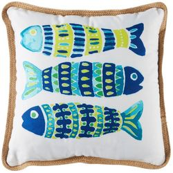 Arlee Three Mosaic Fish Decorative Pillow