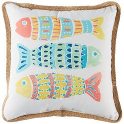 Arlee Three Mosaic Fish Jute Decorative Pillow