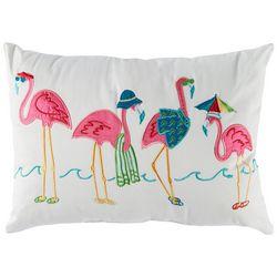 Arlee Flamingo Beach Flock Decorative Pillow